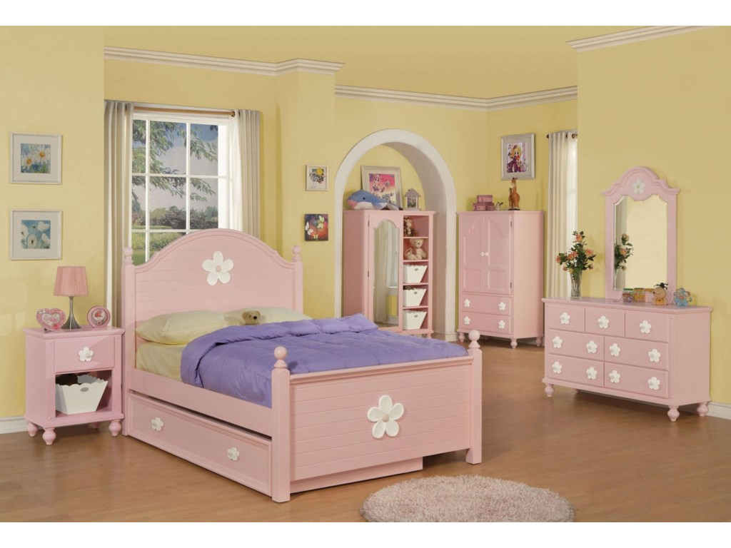 Shown with Nightstand, Bed, Mirror-Door Chest, TV Armoire, and Mirror