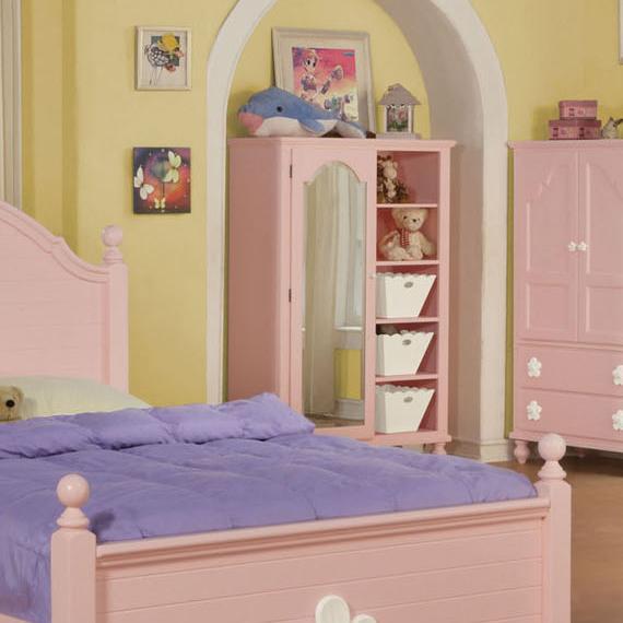 Acme Furniture FloresvillePink/Wh Flower Mirror Door Chest ...