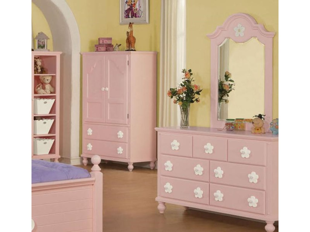 Floresville Pink Tv Armoire With White Flower Hardware By Acme Furniture At Rooms For Less