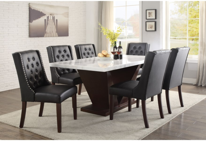 Acme Furniture Forbes Contemporary Dining Table With Marble Top Dream Home Interiors Dining Tables