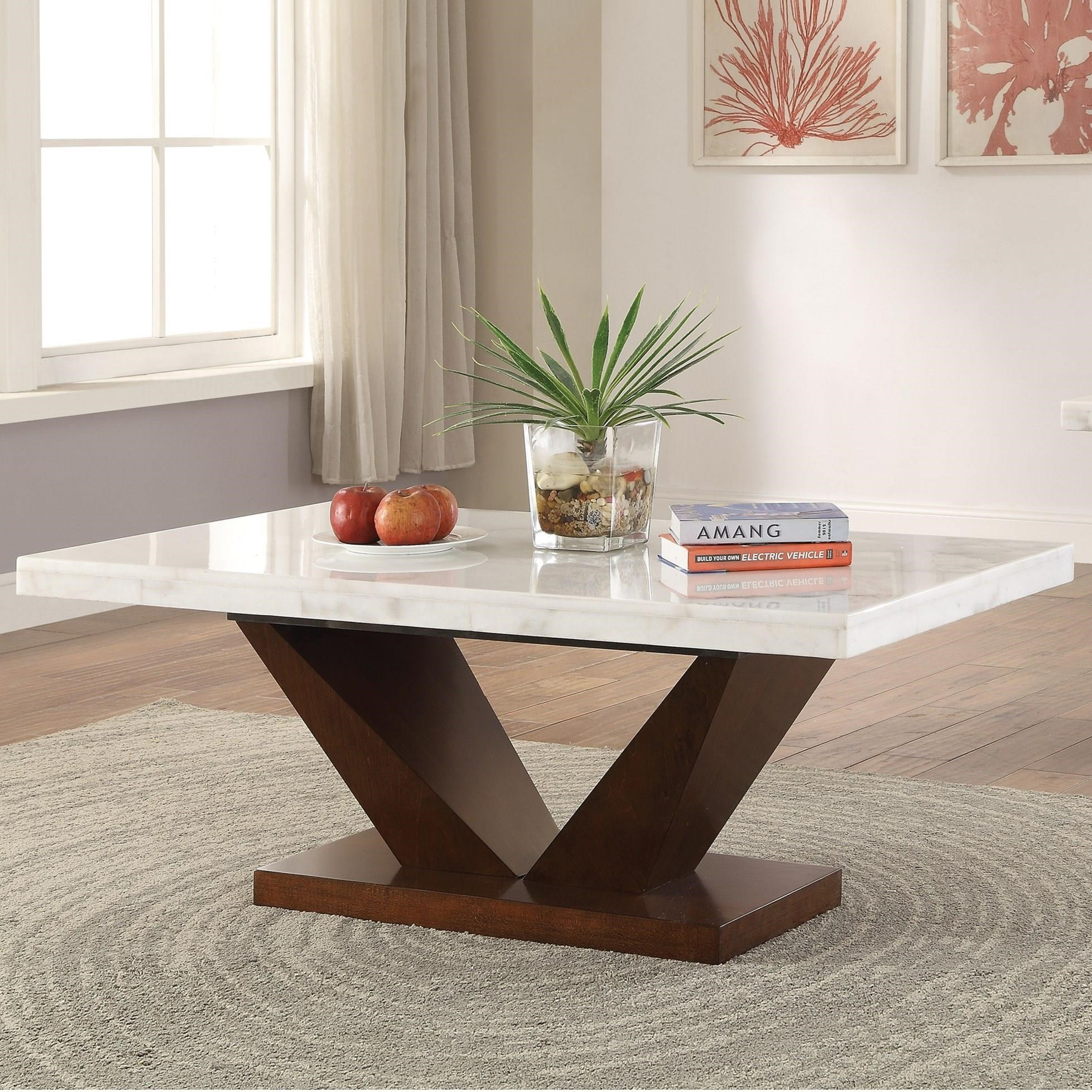 Walnut Finish Acme Forbes White Marble Dining Table Tables Home Kitchen