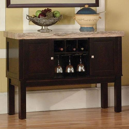 Acme Furniture Fraser 2 Door Server With Wine Rack   Household Furniture    Buffet