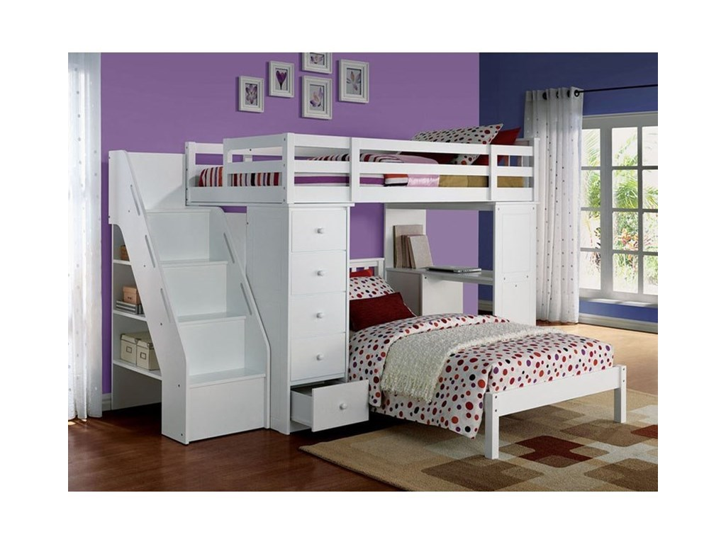 Acme Furniture FreyaTwin Loft Bed and Twin Bed