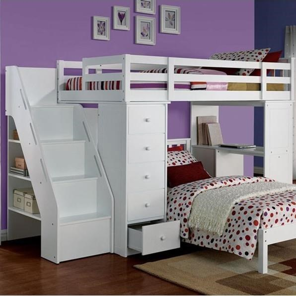 Acme Furniture Freya Loft Bed And Bookcase Ladder Rooms