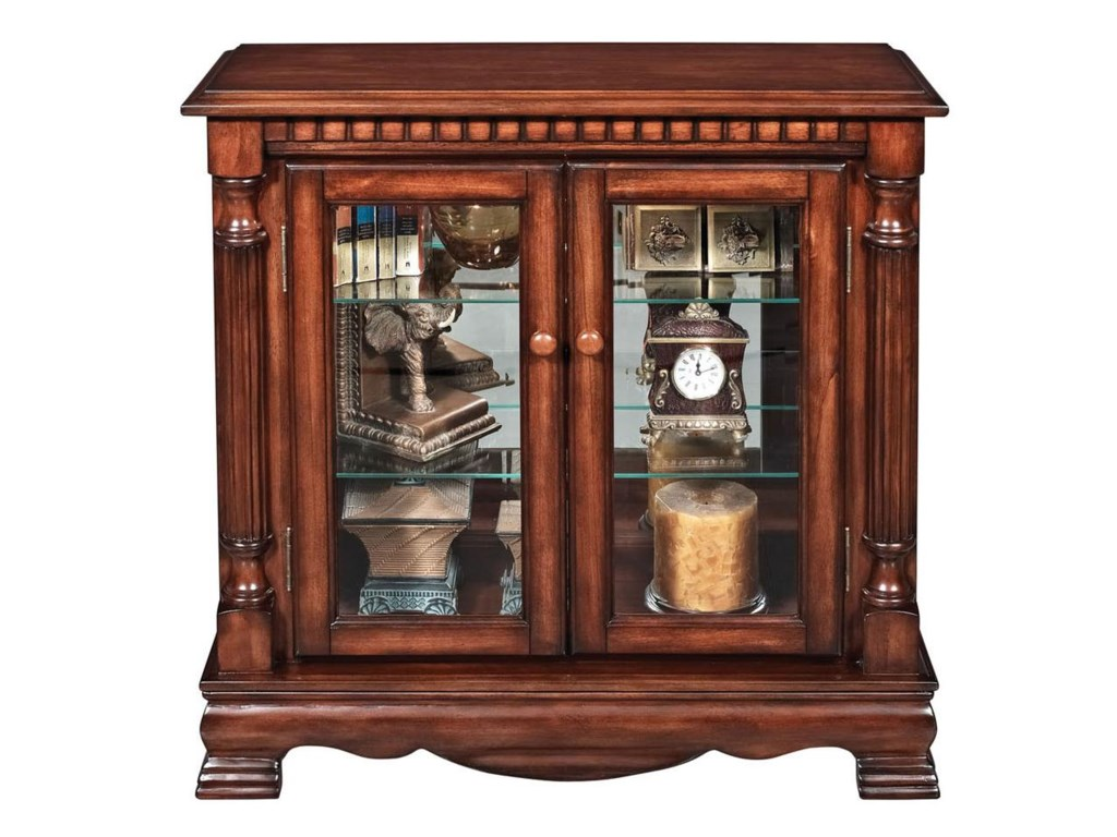 Acme Furniture Gilby 2 Door Curio Cabinet With Pilasters Corner