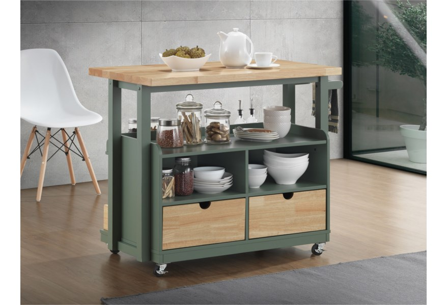 Acme Furniture Harper 98396 Casual Kitchen Island Cart With