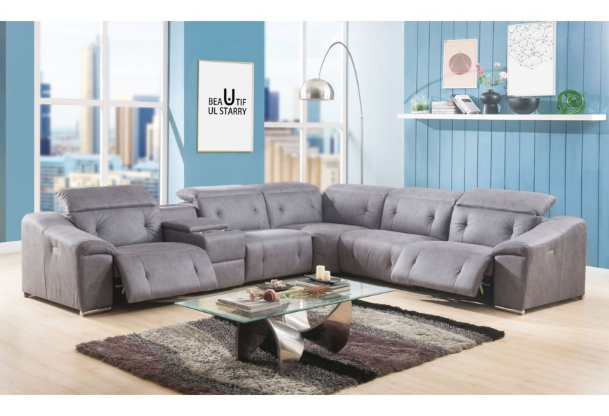 Acme Furniture Hosta Power Reclining Sectional Sofa with USB ...