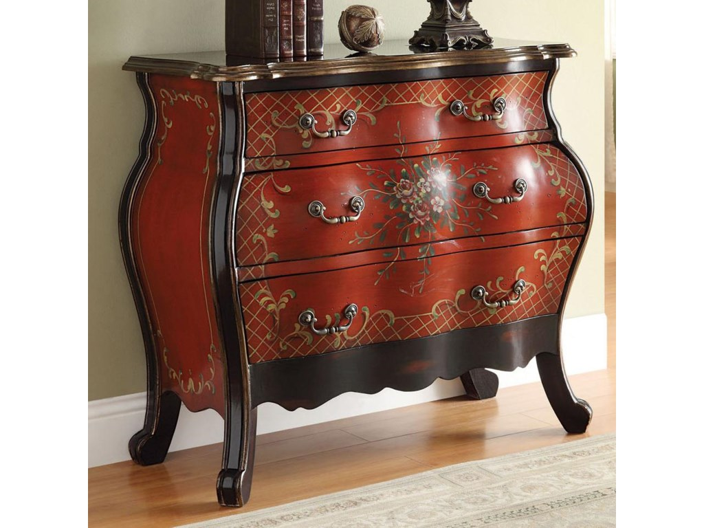 Acme Furniture Iden 90016 Cherry Bombay Chest With Painted Floral