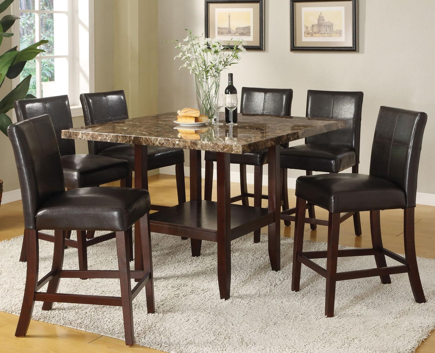 Acme Furniture Idris 7 Piece Counter Height Dining Set With Square Pedestal  Table