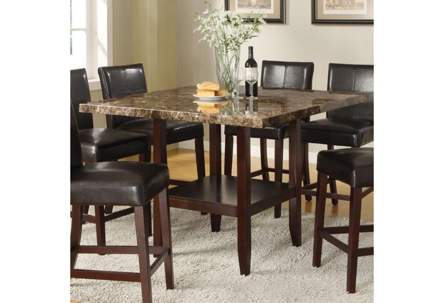 Acme Furniture Idris 70355 6x57 7 Piece Counter Height Dining Set With Square Pedestal Table Del Sol Furniture Pub Table And Stool Sets