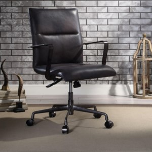 Acme Furniture Indra Industrial Office Chair In Top Grain Leather Dream Home Interiors Executive Desk Chairs