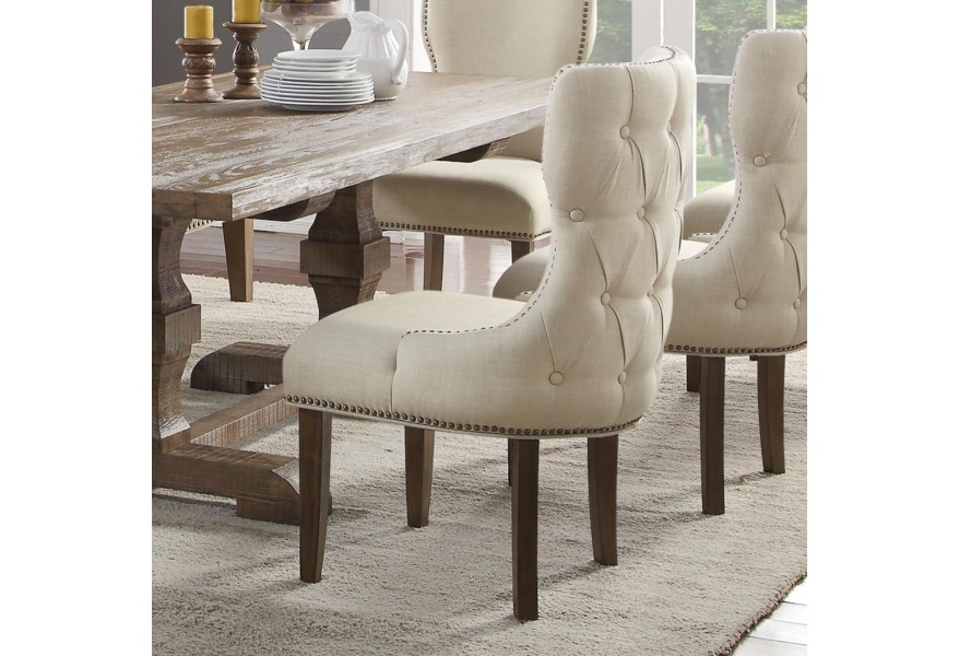 Acme Furniture Inverness Parker Upholstered Dining Host Chair With Nailheads And Tufted Back Rooms For Less Dining Side Chairs