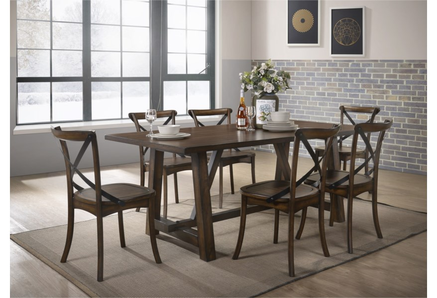 Acme Furniture Kaelyn Transitional Dining Table Set With 6 Chairs A1 Furniture Mattress Dining 7 Or More Piece Sets