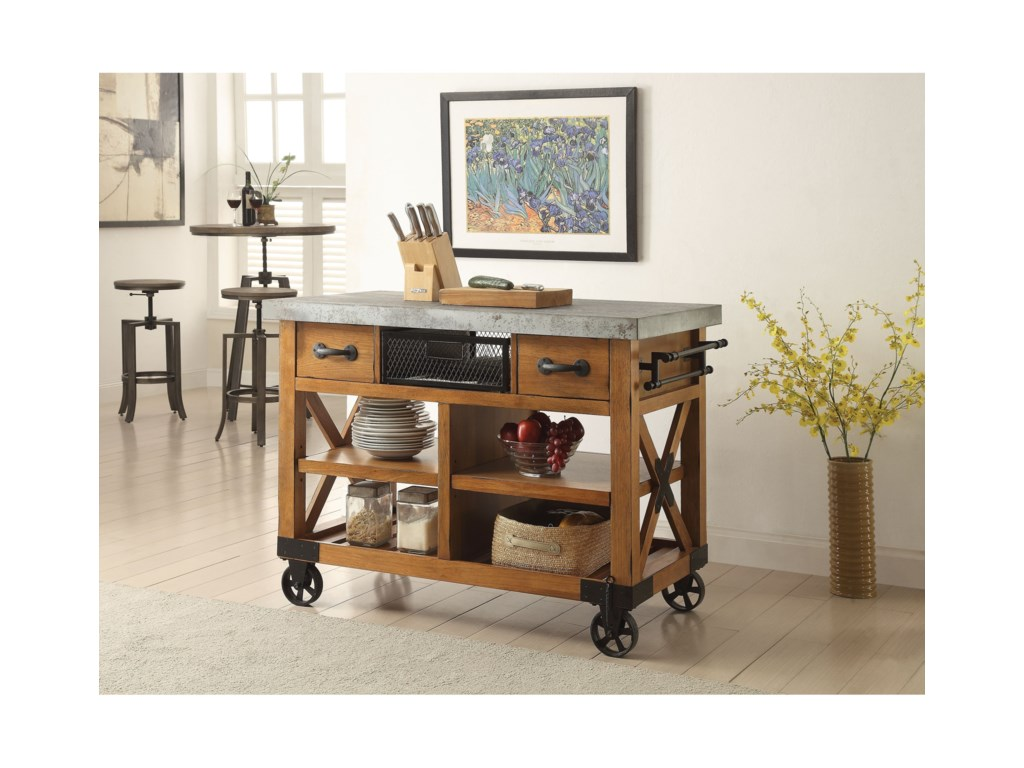 Acme Furniture Kailey 98182 Industrial Kitchen Cart with ...