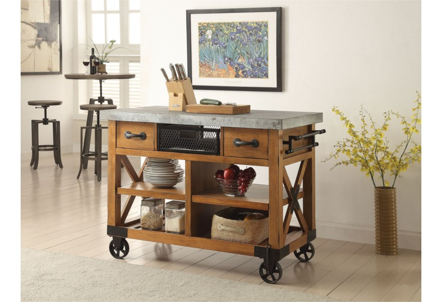 Acme Furniture Kailey Industrial Kitchen Cart with Casters ...