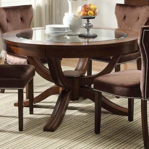 Acme Furniture Kingston Round Transitional Formal Dining Table