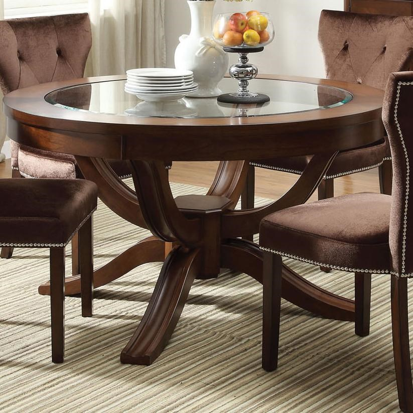Acme Furniture Kingston Round Transitional Formal Dining Table   Del Sol  Furniture   Dining Tables