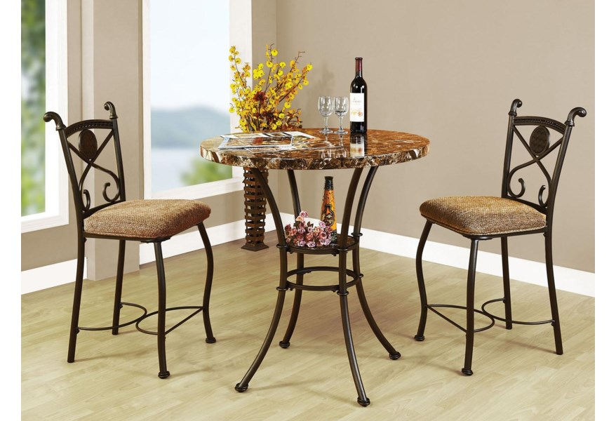 Acme Furniture Kleef 3 Piece Counter Height Dining Set Rooms For Less Pub Table And Stool Set