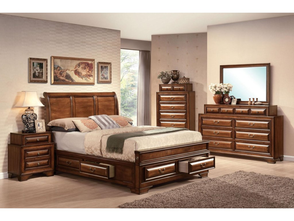 Shown with Nightstand, Bed, and Chest