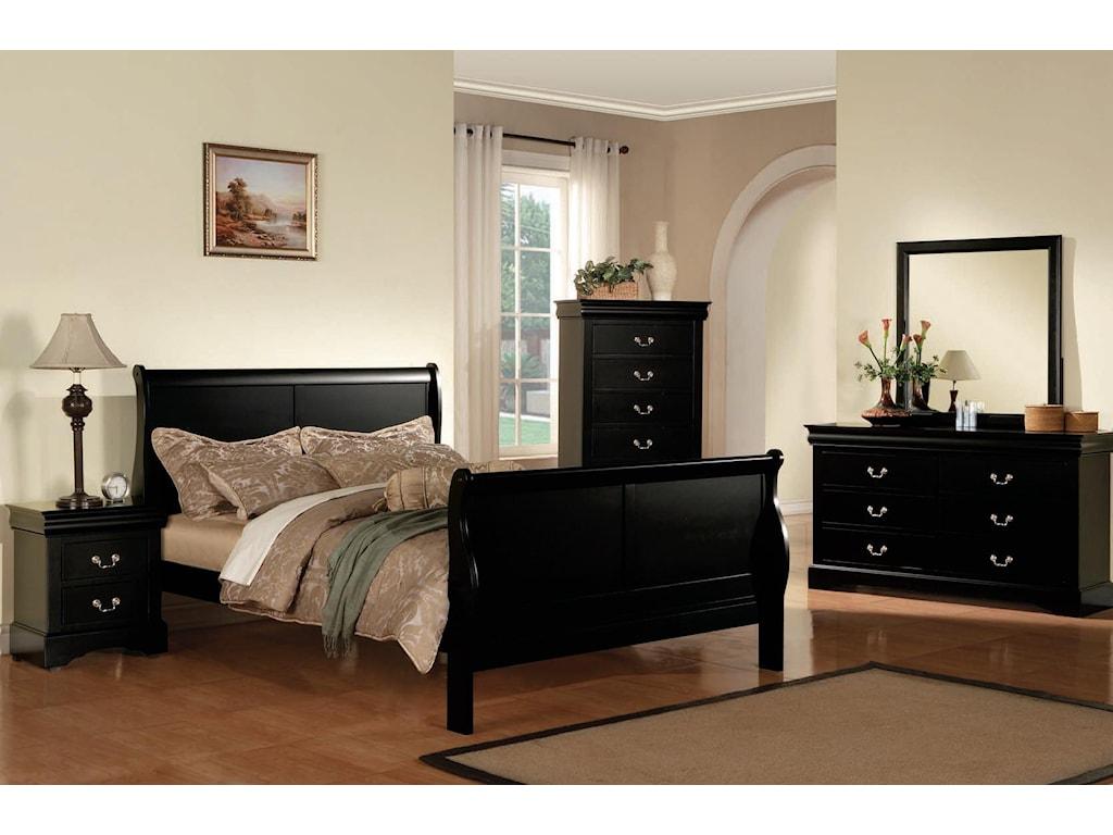 Acme Furniture Louis Philippe III Transtional Queen Bedroom Group ...