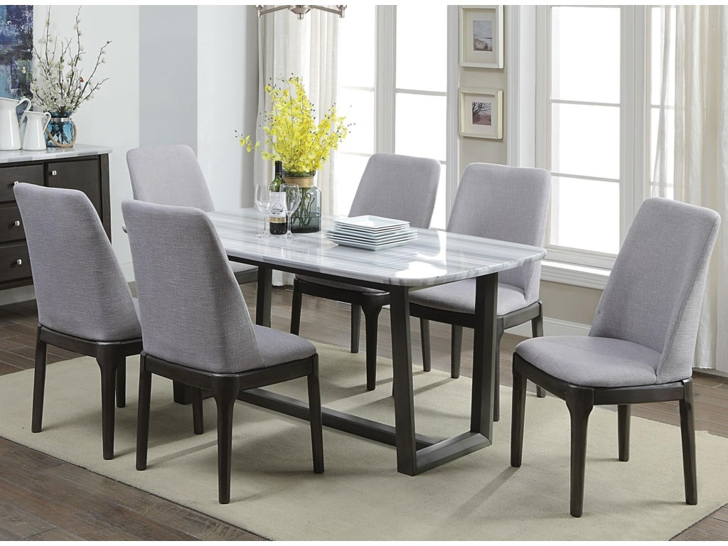 Del Sol Af Madan Contemporary Dining Set With 6 Chairs Del