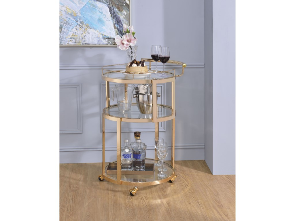 Acme furniture madelina gold finish round serving cart with clear glass shelves