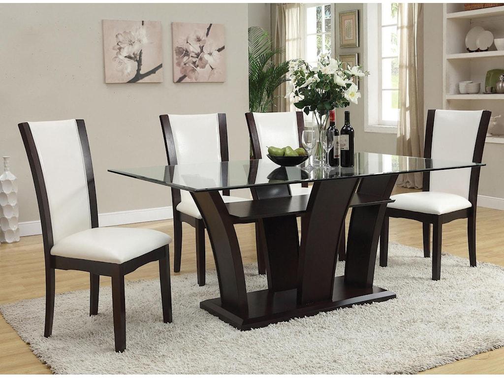 Acme Furniture Malik 5-Piece Dining Rectangular Table and Chair Set