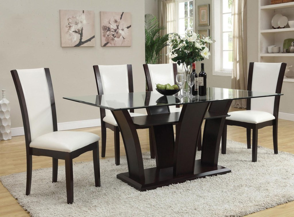 Malik contemporary casual dining table w glass top by acme furniture