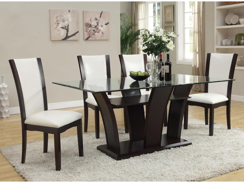 Malik Contemporary Casual Dining Table W Gl Top By Acme Furniture