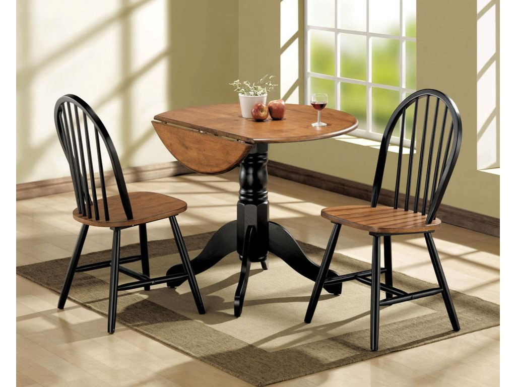 Mason 3 piece dining drop leaf table and chair set by acme furniture mason collection