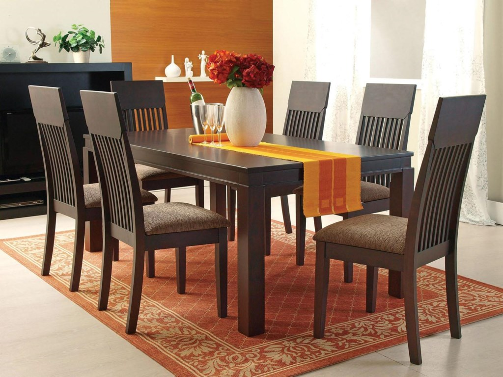Acme Furniture Medora Casual 7-Piece Mission-Style Dining Table ...