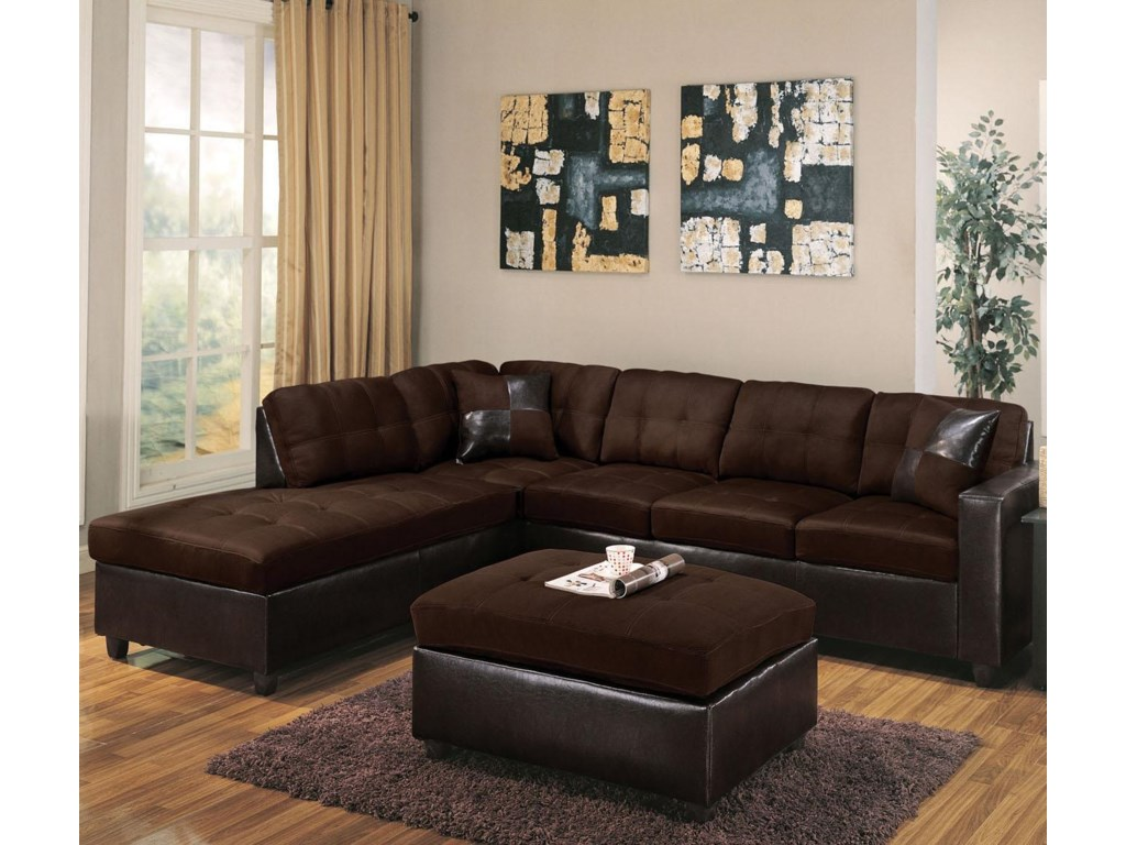 Acme Furniture Milano Chocolate2 Piece Sectional Sofa W Raf Chaise