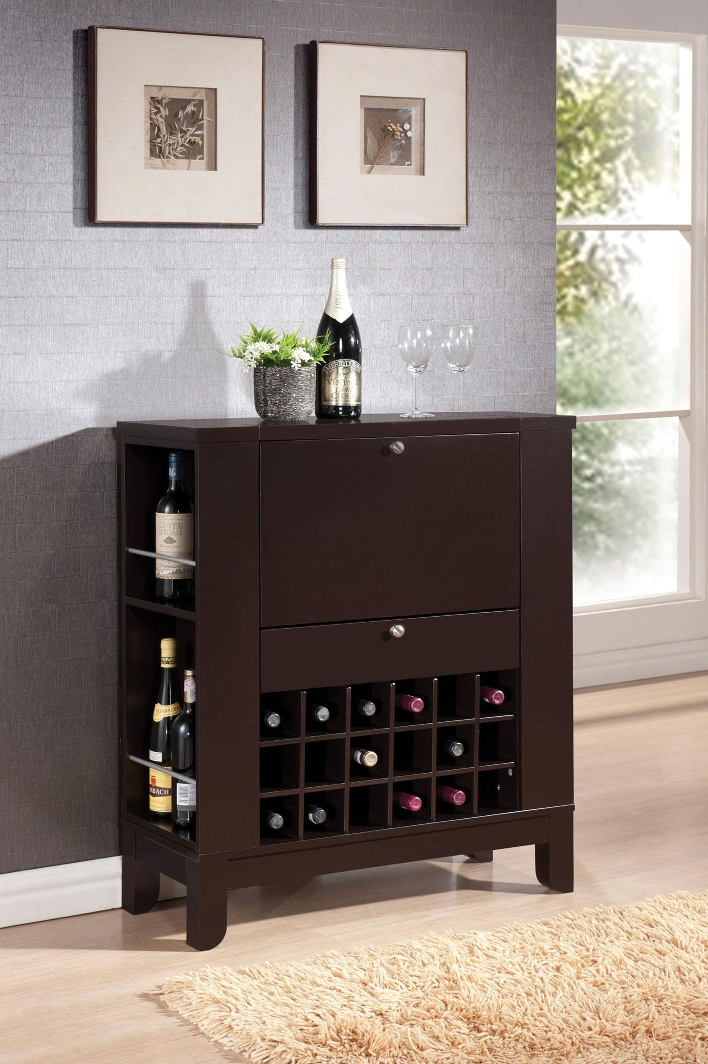 Acme Furniture Nelson Contemporary Wine Bar W/ Bottle Storage