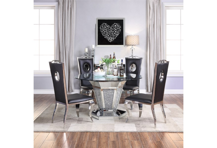 Acme Furniture Noralie Glam Glass Top Dining Table With Faux Diamond Inlay A1 Furniture Mattress Dining Tables