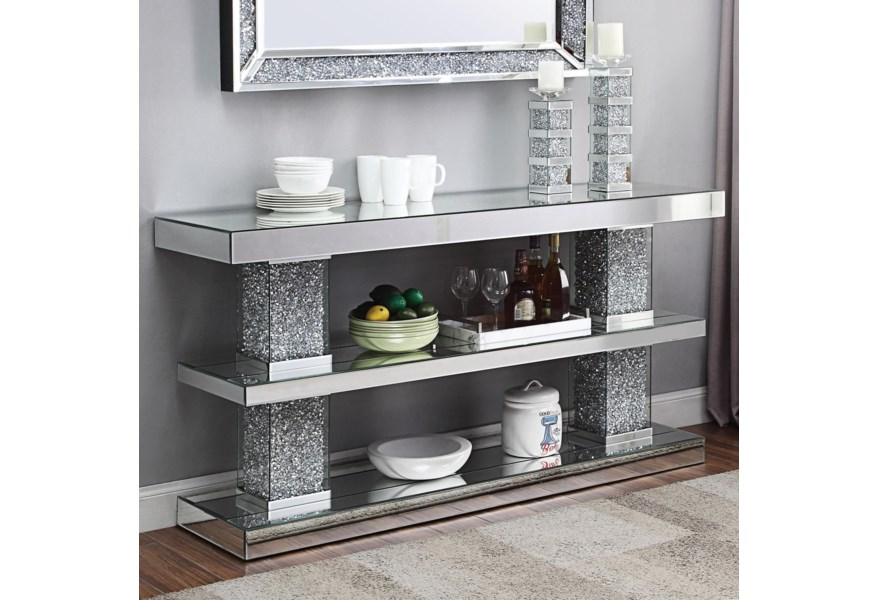 90462 Glam Mirrored Console Table
