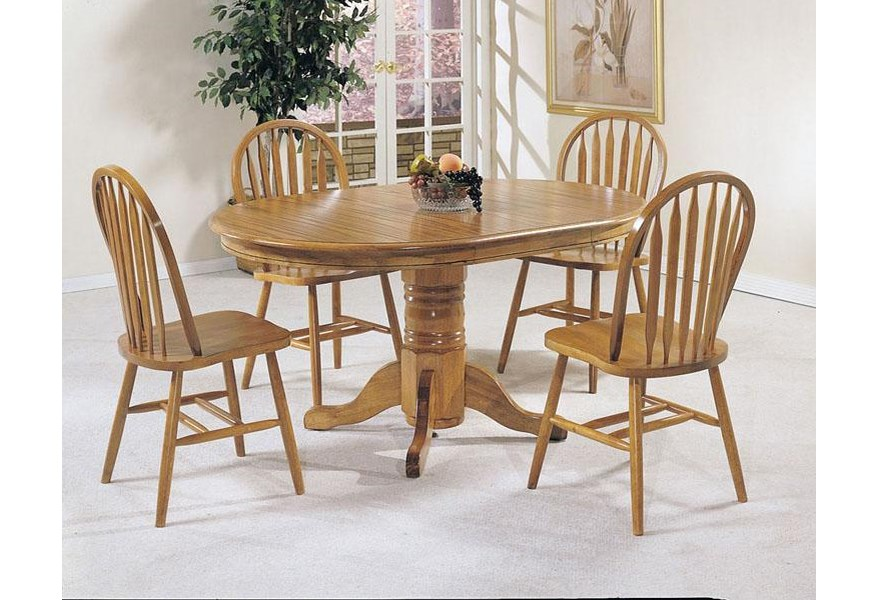 Acme Furniture Nostalgia 5 Piece Casual Dining Pedestal Table And Windsor Dining Chairs Rooms For Less Dining 5 Piece Sets
