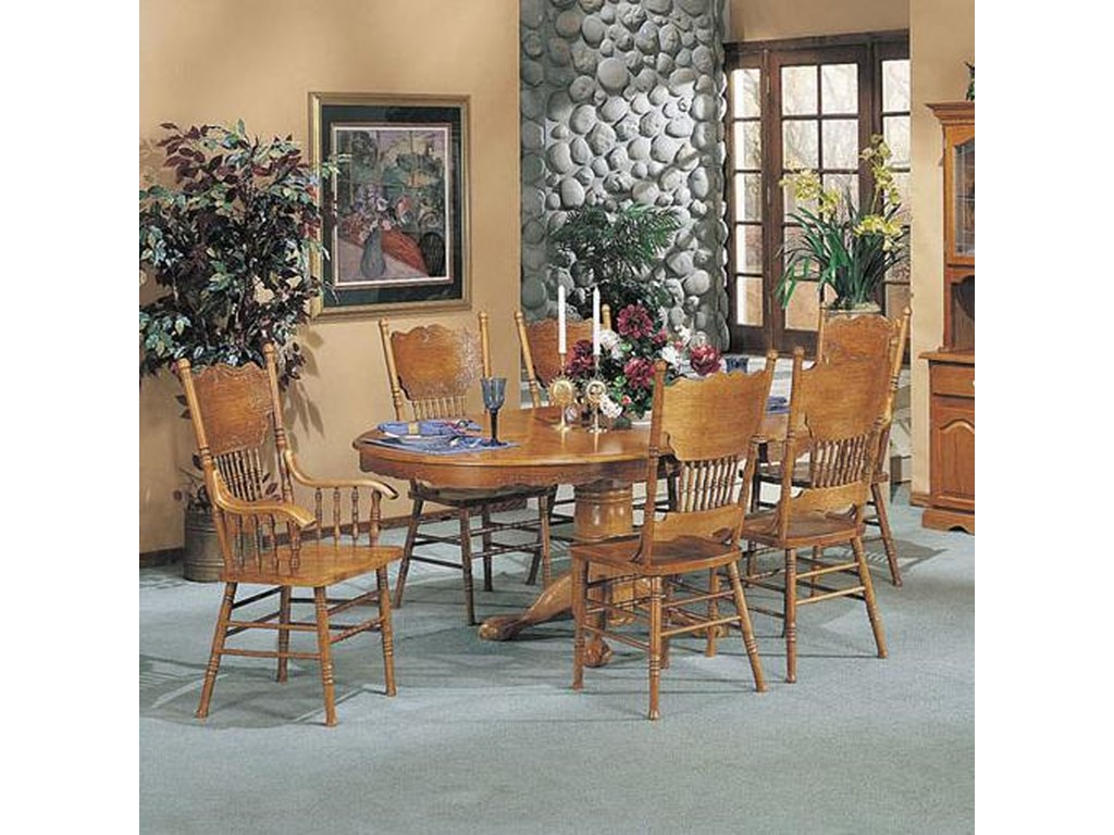 Acme Furniture Nostalgia 7 Piece Dining Pedestal Table And Press Back Chair Set