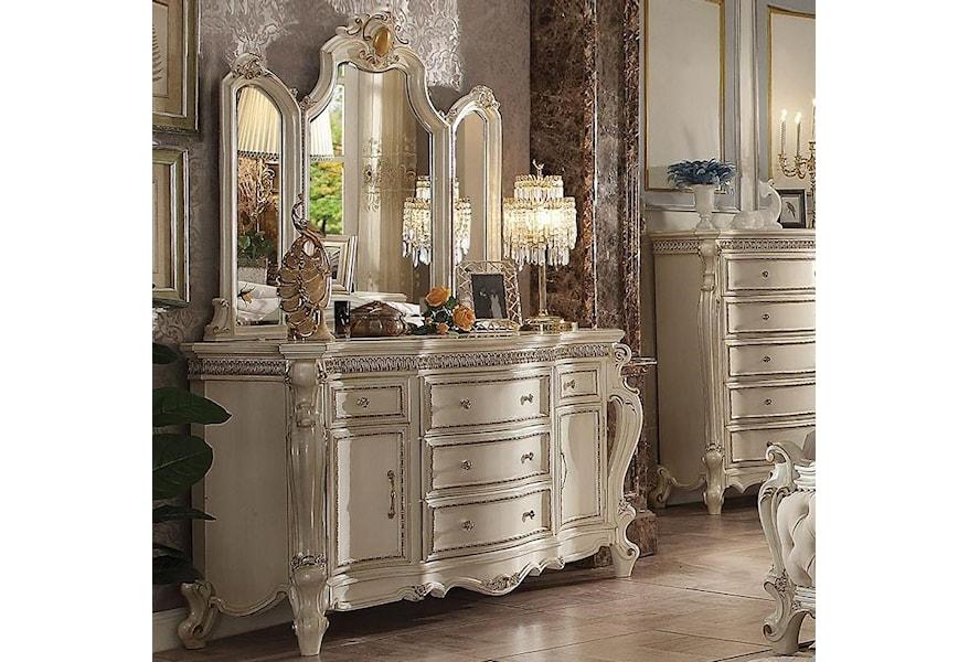 White 2 Door Dresser Mirror Set