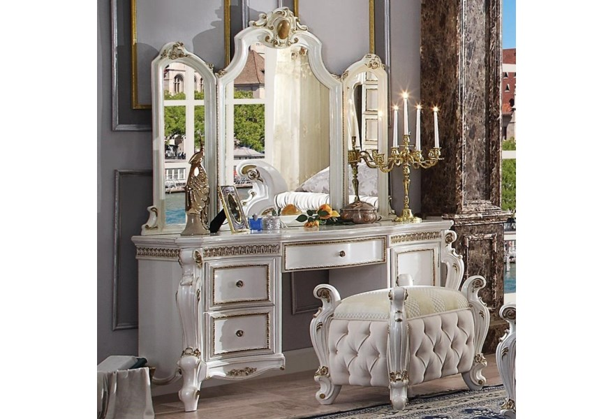 Acme Furniture Picardy 27884 26904 Traditional Antique White Vanity Desk And Mirror Set Del Sol Furniture Vanities Vanity Sets