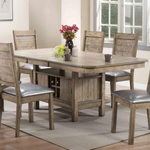 Acme Furniture Ramona 72000 Rustic Dining Table With Butterfly Leaf And Wine Storage Corner Furniture Dining Tables