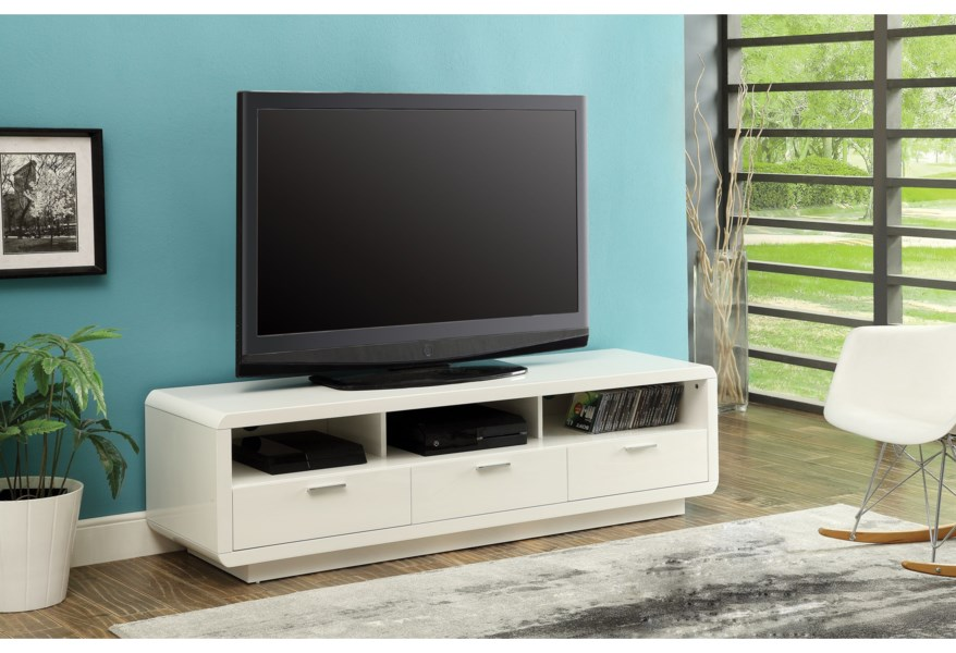 Acme Furniture Randell Contemporary Tv Stand With 3 Drawers And Open Compartments Dream Home Interiors Tv Stands