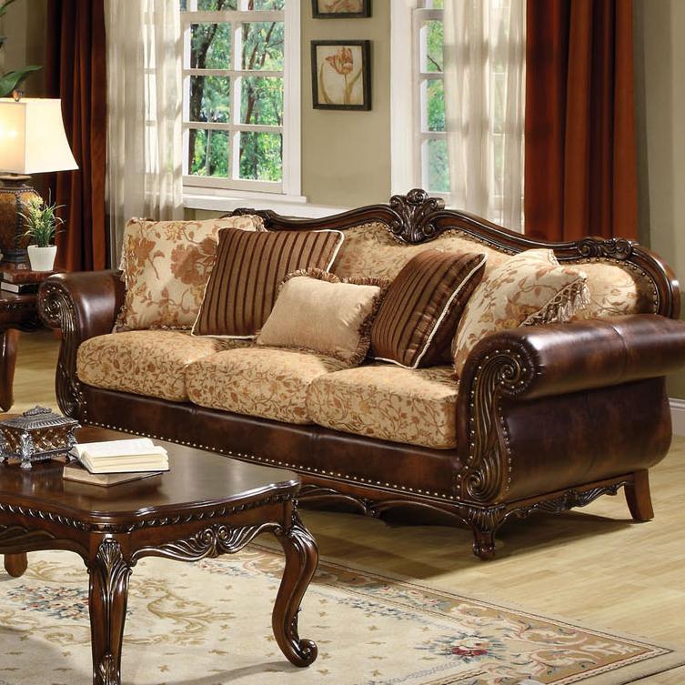 Acme Furniture Remington Traditional Stationary Sofa W/5 Pillows    Household Furniture   Sofas