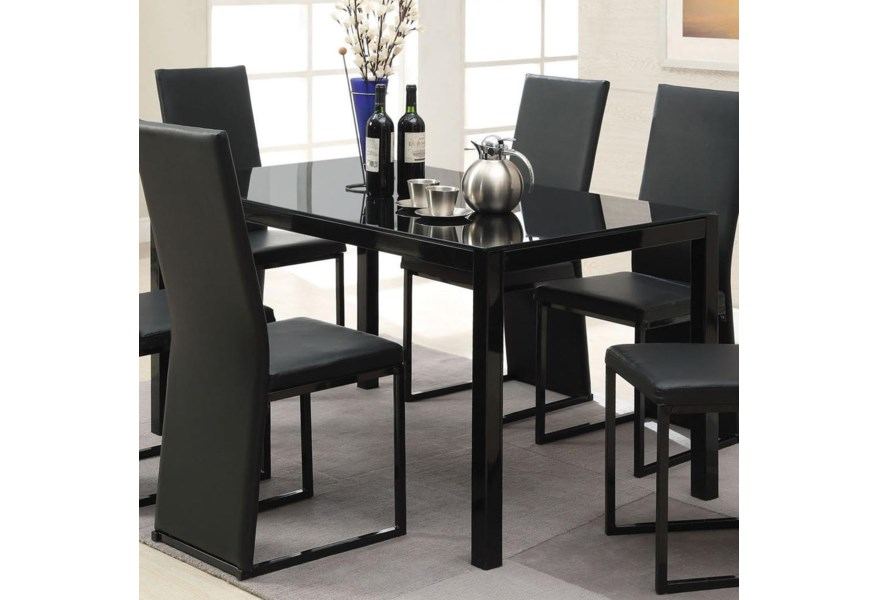 Acme Furniture Riggan 60204a Contemporary Black Dining Table With Block Legs Corner Furniture Dining Room Table