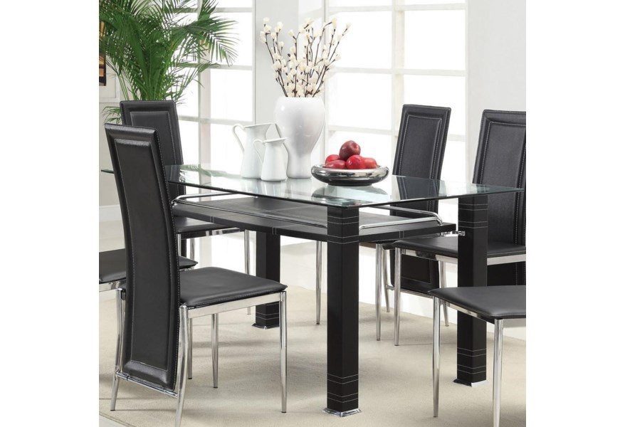 Acme Furniture Riggan Contemporary Dining Table With Beveled Glass Top And Black Legs A1 Furniture Mattress Dining Room Table