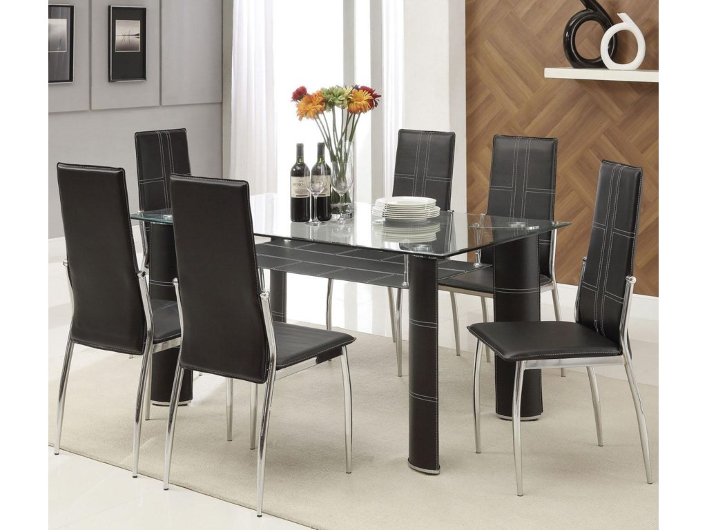 Riggan Contemporary Black Leg Table With Vinyl Chairs Set By Acme Furniture