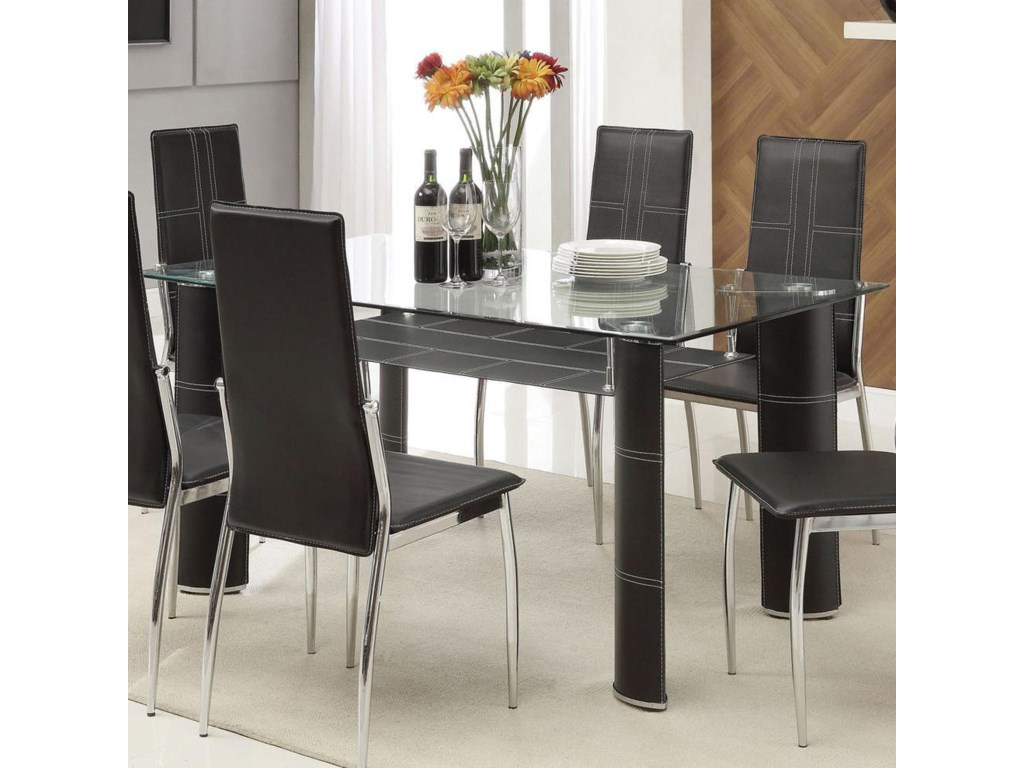 2c54a6fd3a6c Acme Furniture Riggan Contemporary Black Leg Dining Table with Beveled Glass  Top and Vinyl Shelf