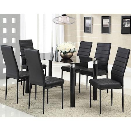 Black Leg Table with Black Vinyl Chairs Set