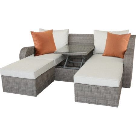 Patio Sectional & 2 Ottomans (2 Pillows)