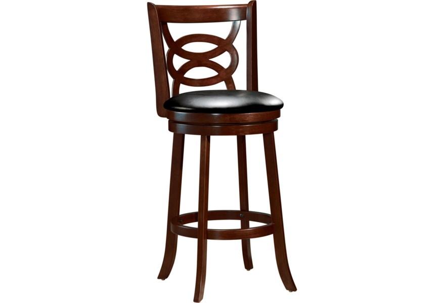 Acme Furniture Tabib 96084 Contemporary Swivel Counter Stool With Knot Lattice Back Corner Furniture Bar Stools