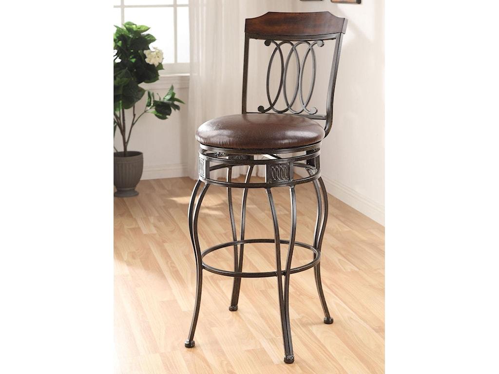 Acme Furniture Tavio Traditional Swivel Bar Chair With Decorative